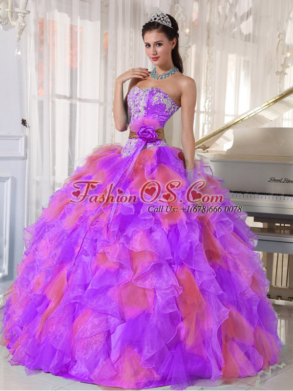 Organza Appliques and Ruffles Sweetheart Discount Quinceanera Dresses in Multi-color