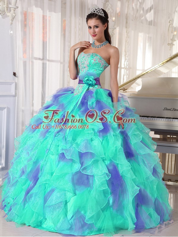 Ruffles and Appliques Floor-length Perfect Quinceanera Dresses with Organza