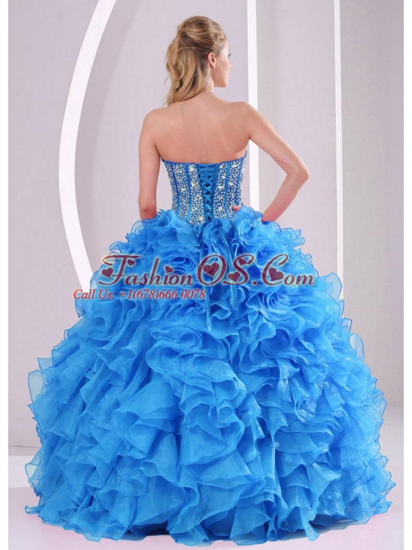 Ruffles and Beaded Decorate Sweetheart Long Perfect Quinceanera Dresses with Lace Up