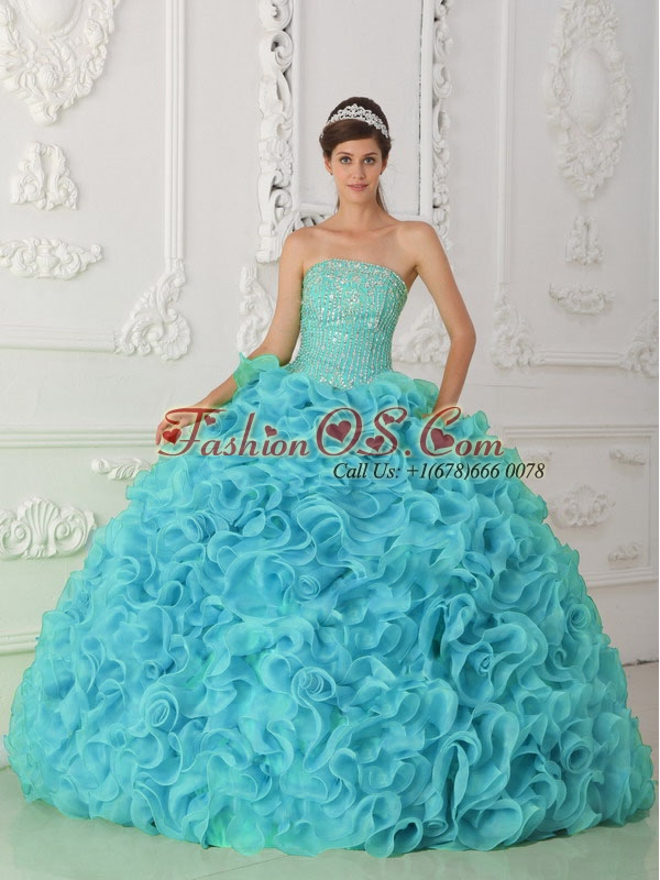Strapless Organza Beading Ball Gown Perfect Quinceanera Dresses in Blue