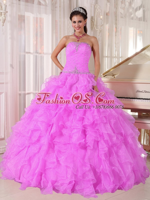 Sweet Ball Gown Strapless Ruffles Organza Beading Lilac Perfect Quinceanera Dresses