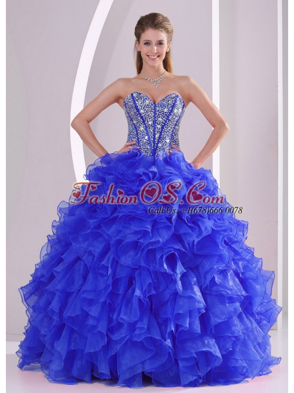 2014 Ball Gown Sweetheart Blue Unique Quinceanera Dresses with Ruffles and Beading