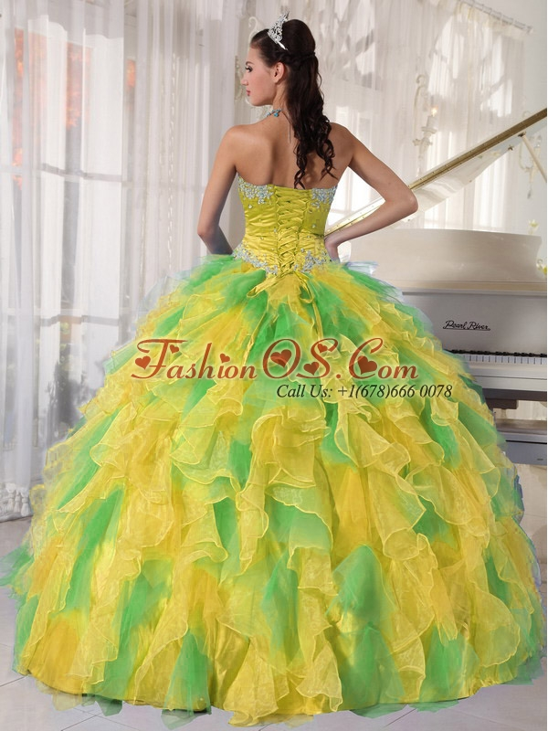 Ball Gown Appliques and Ruffles Organza Long Sweet 16 Dresses