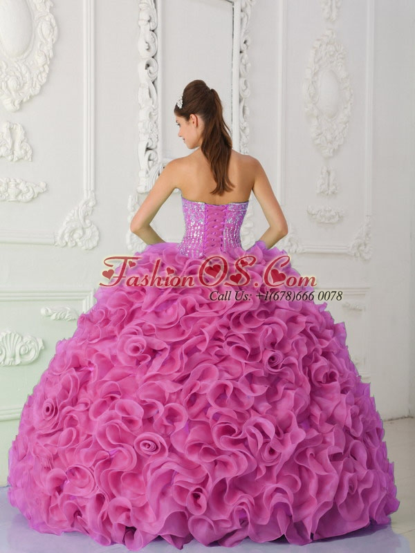 Ball Gown Strapless Organza Beaded Hot Pink Sweet 16 Dresses