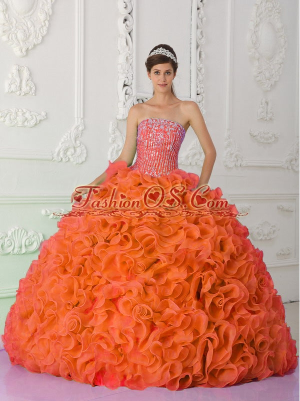 Ball Gown Strapless Organza Beading Orange Red Unique Quinceanera Dresses