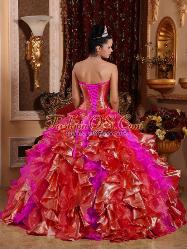 Ball Gown Strapless Ruffles and Beading Embroidery Red Sweet 16 Dresses