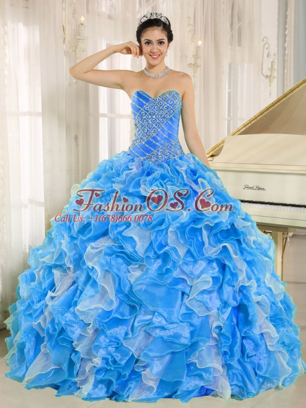 Beaded and Ruffles Custom Made For Unique Quinceanera Dresses In Blue