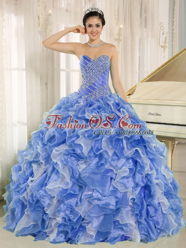 Beaded Bodice and Ruffles Custom Made Blue and White Discount Quinceanera Dresses