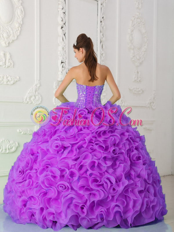 Fuchsia Ball Gown Discount Quinceanera Dresses Strapless Organza Beading