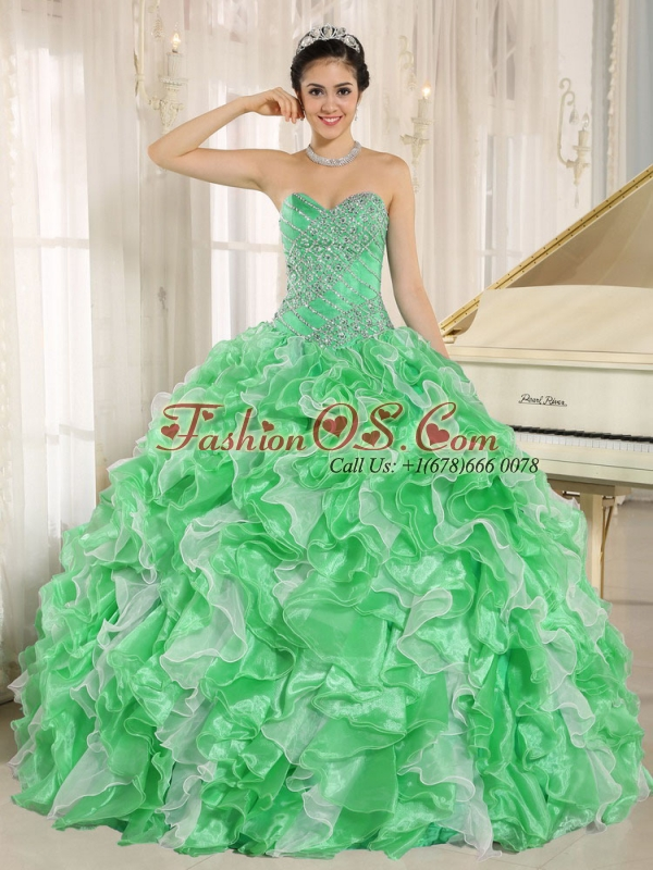 Green Beaded and Ruffles Custom Made For 2013 Sweetheart Perfect Quinceanera Dresses