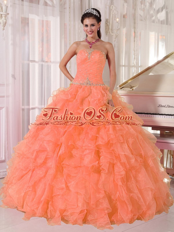Lovely Orange Ball Gown Strapless Organza Sweet 16 Dresses with Beading and Ruffles