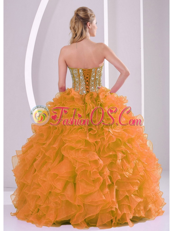 Orange Sweetheart Beautiful Unique Quinceanera Dresses with Ruffles and Beading