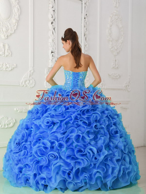Organza Ball Gown Beaded Royal Blue Discount Quinceanera Dresses with Strapless