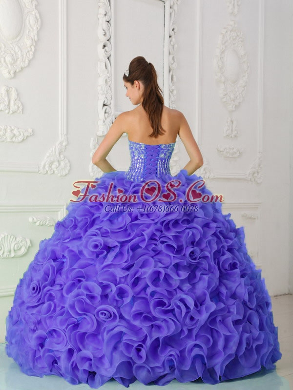 Purple Sweet 16 Dresses Strapless Organza Beading