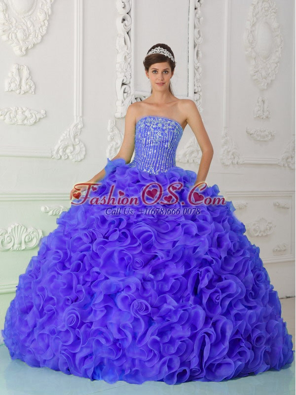 Purple Sweet 16 Dresses Strapless Organza Beading