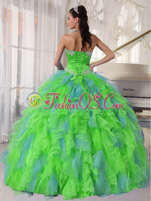 Spring Green and Blue Organza Appliques and Ruffles Unique Quinceanera Dresses