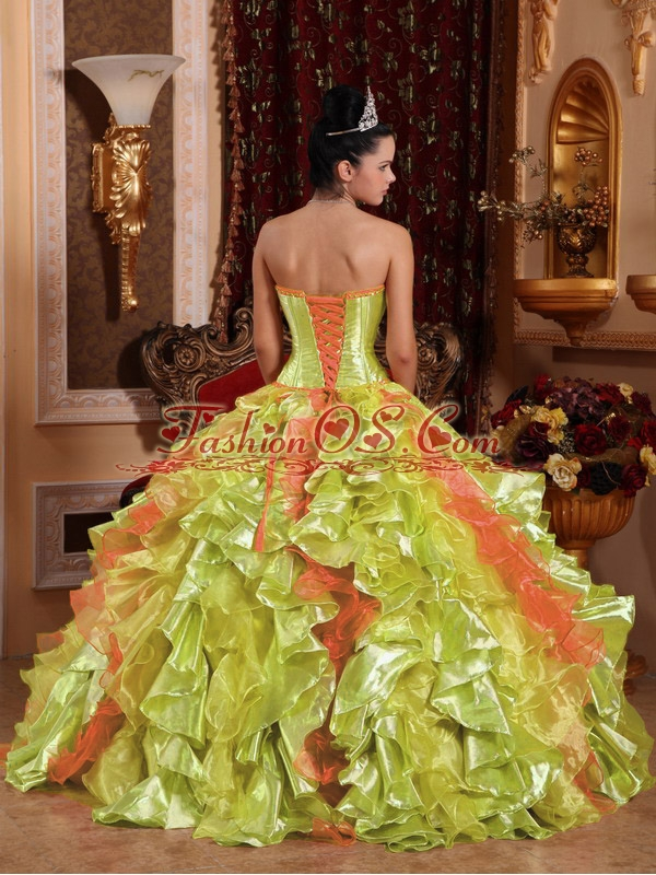 Spring Green Ball Gown Strapless Floor-length Organza Embroidery Popular Quinceanera Dresses