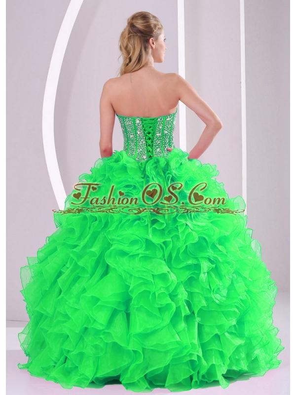 Sweetheart Ruffles and Beading Floor-length Popular Quinceanera Dresses in Sweet 16