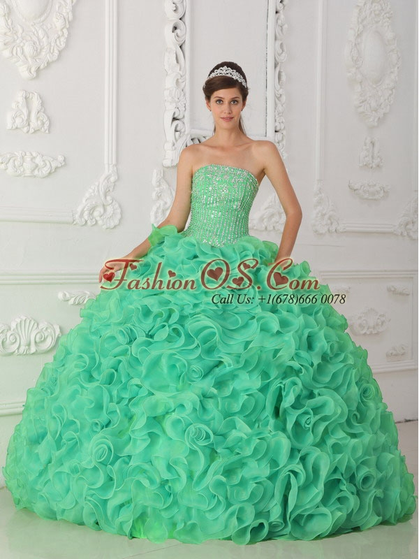 Turquoise Strapless Organza Unique Quinceanera Dresses with Beading