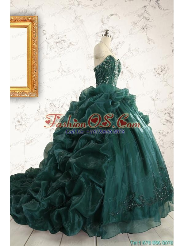 2015 Luxurious Dark Green Sweet 16 Dresses with Beading