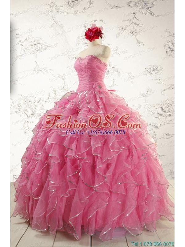 2015 New Style Rose Pink Quinceanera Dresses with  Beading