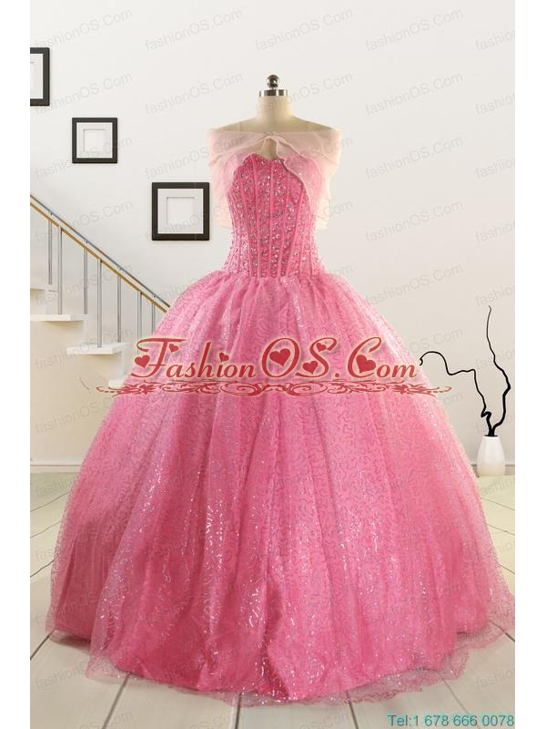 2015 Pretty Strapless Quinceanera Dresses in Rose Pink