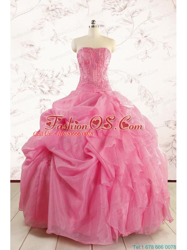 Perfect Rose Pink Quinceanera Gowns with Pick Ups for 2015