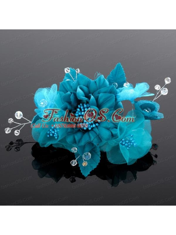 Beautiful Pearls Blue Tulle Fascinators Hair Flower