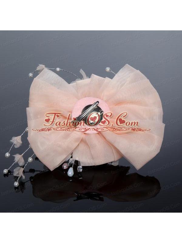 2014 Yellow Tulle Imitation Pearls Hair Flower