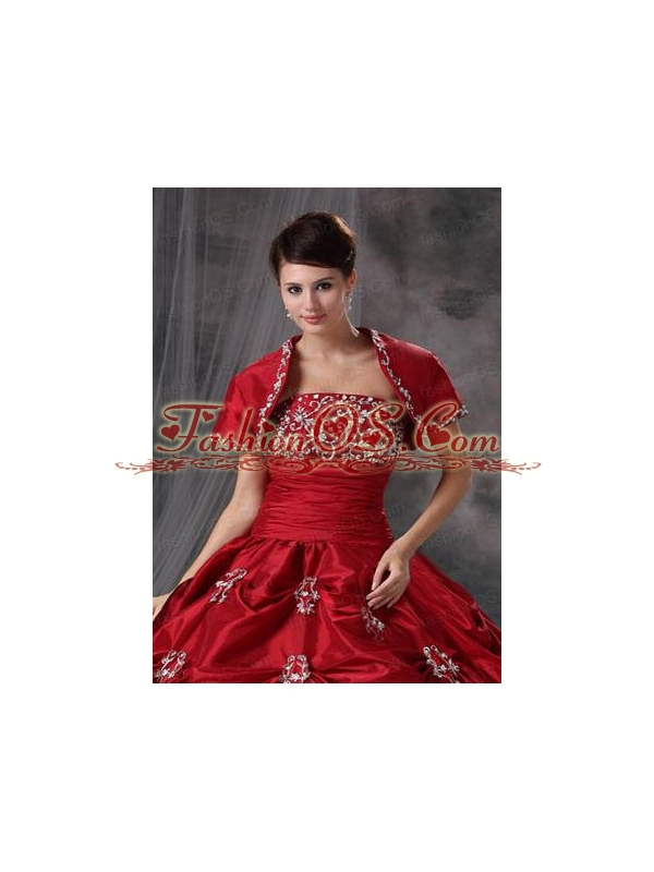 Beautiful Open Front Red Quinceanera Jacket with Appliques