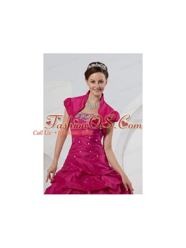 Custom Made Open Front Short Sleeves Fuchsia Quinceanera Jacket For 2014