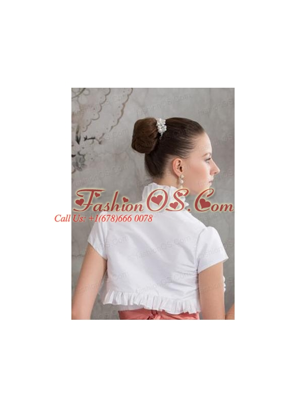 Elegant Short Sleeves Quinceanera Jacket in White