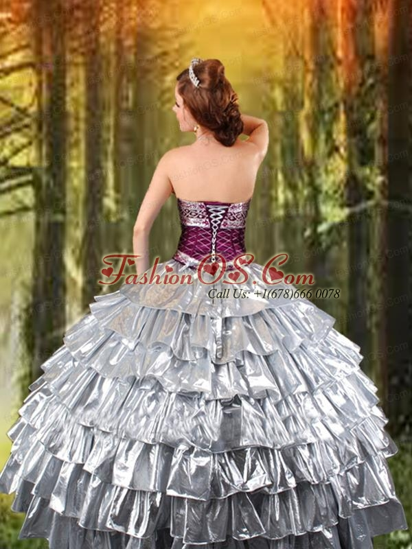 2015 Ball Gown Strapless Silver Quinceanera Dress with Ruffled Layers