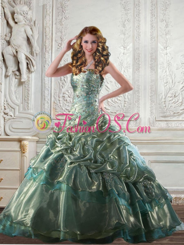 2015 Classical Appliques and Pick Ups Quinceanera Ball Gown in Apple Green