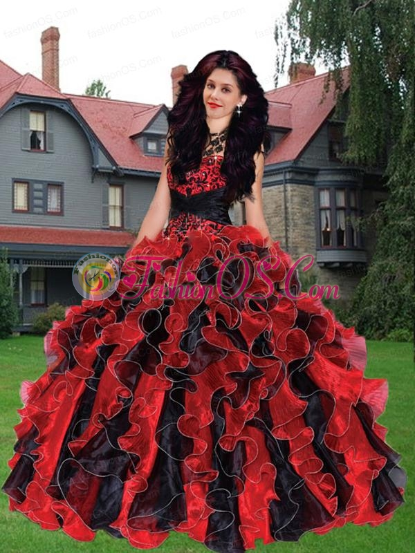 2015 Classical Black and Red Sweetheart Beadings and Ruffles Quinceanera Dresses