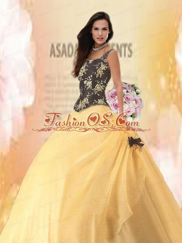 2015 Luxirious One Shoulder Yellow Quince Dresses with Appliques