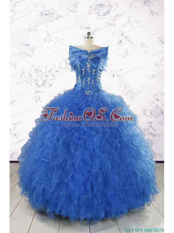 2015 Pretty Royal Blue Quinceanera Dresses with Appliques and Ruffles