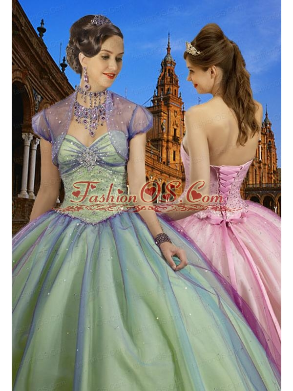 2015 Wonderful Sweetheart Multi-color Beading Gowns for Quinceanera