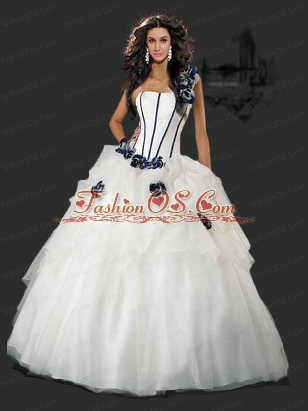 Beautiful One Shoulder Hand Made Flowers Quinceanera Dress in White  For 2015