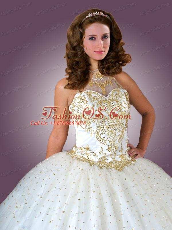 Beautiful Tulle Sequins and Beading Quinceanera Dress in White