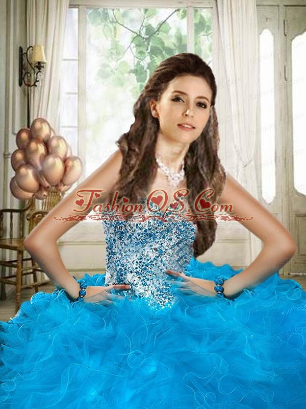 Blue Sweetheart Beaded Decoarte Ball Gown Quinceanera Dress with Ruffles