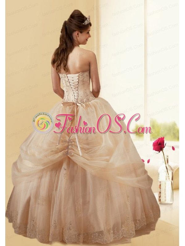 Cheap Champagne Quinceanera Dress with Embroidery and Hand Made Flower