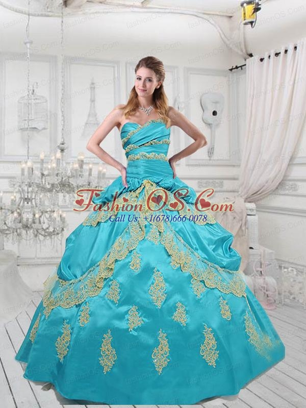 Customize Sweetheart Taffeta Appliques Blue Quinceanera Dress For 2015