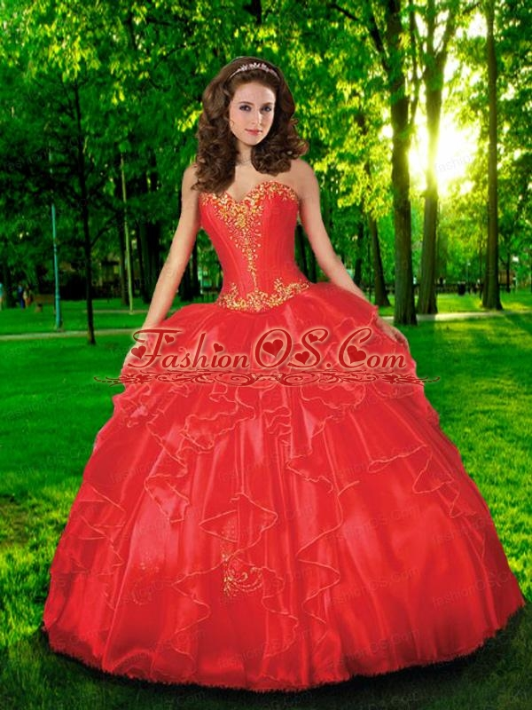 Fashionable Sweetheart Appliques and Beading  Quinceanera Dress in Red