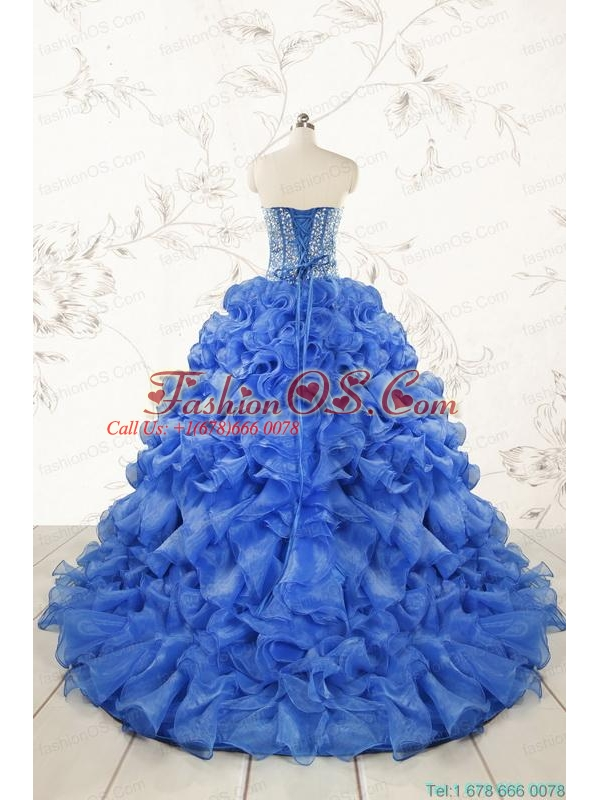 Hot Sale Beading Royal Blue Sweet 15 Dresses with Sweep Train