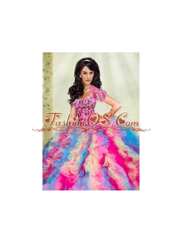 Luxurious Multi-color Organza Quinceanera Jacket with Appliques and Ruffles