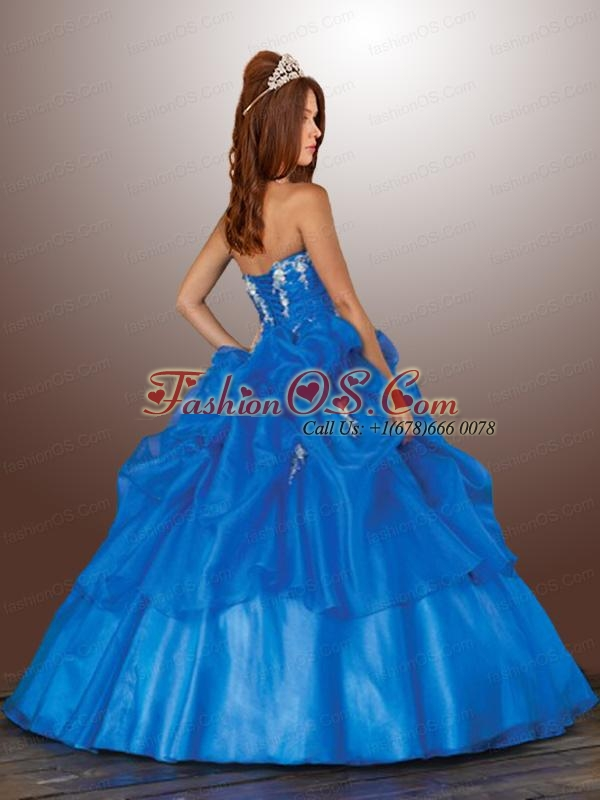 New Style Blue Pick Ups and Appliques Quinceanera Gown