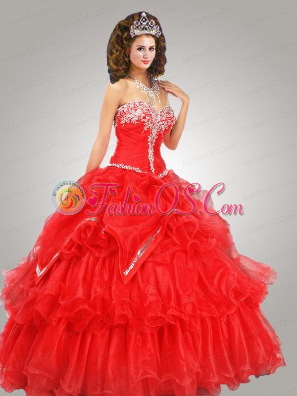 Perfect Organza Beading Quinceanera Dress in Red with Ruffled layers