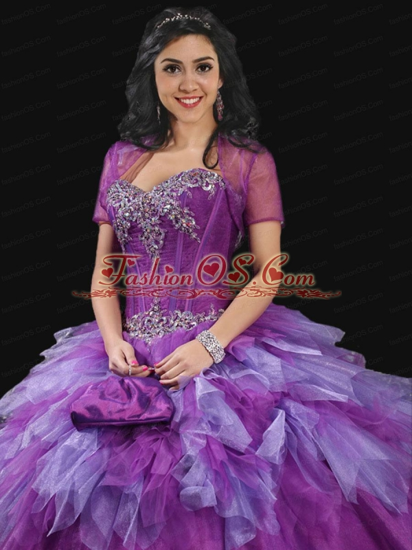 Romantic Purple Tulle Ruffles and Beading Quinceanera Dress