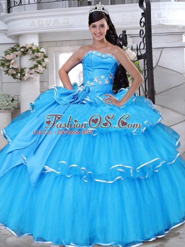 Strapless Tulle Aqua Blue Quinceanera Gowns with Appliques